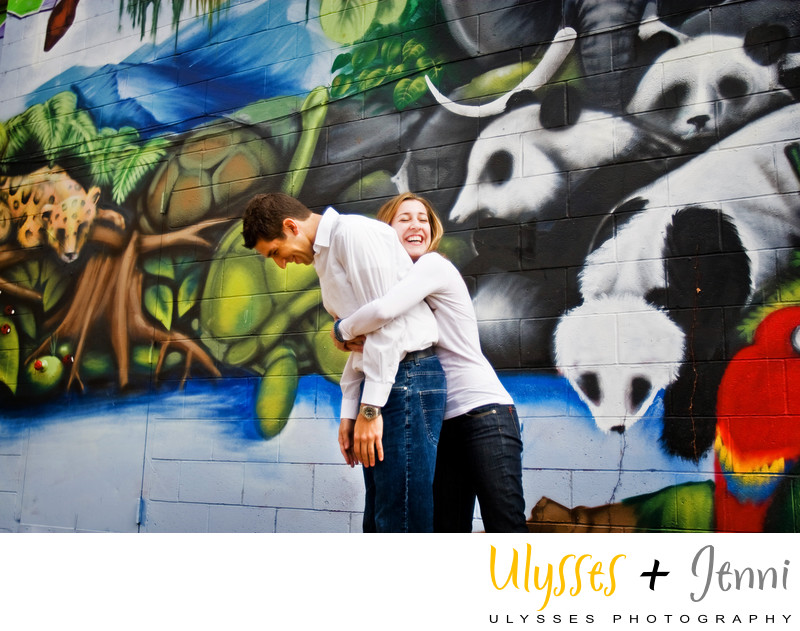 Laughing Engagement Photo Colorful
