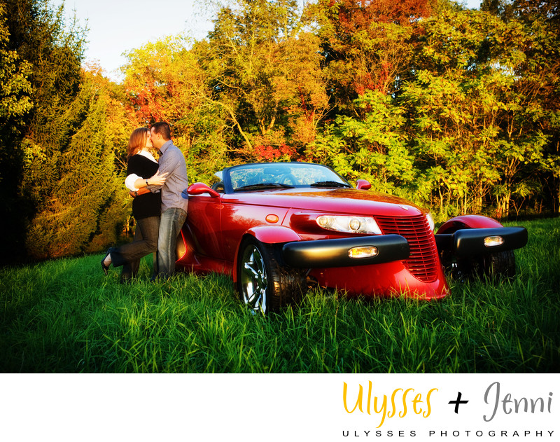 Engagement Photo Hot Car Hudson Valley
