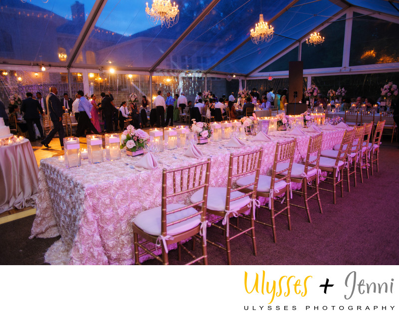 LONG RECEPTION TABLES UNDER FORMAL TENT