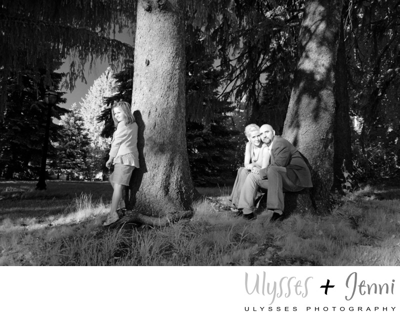 Infrared family portrait couple and child