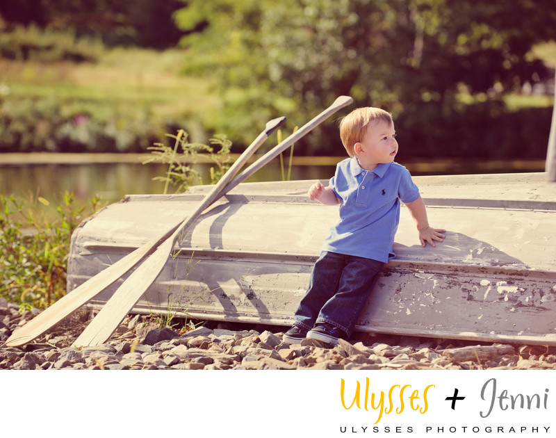 Little Boy Portrait with Boat