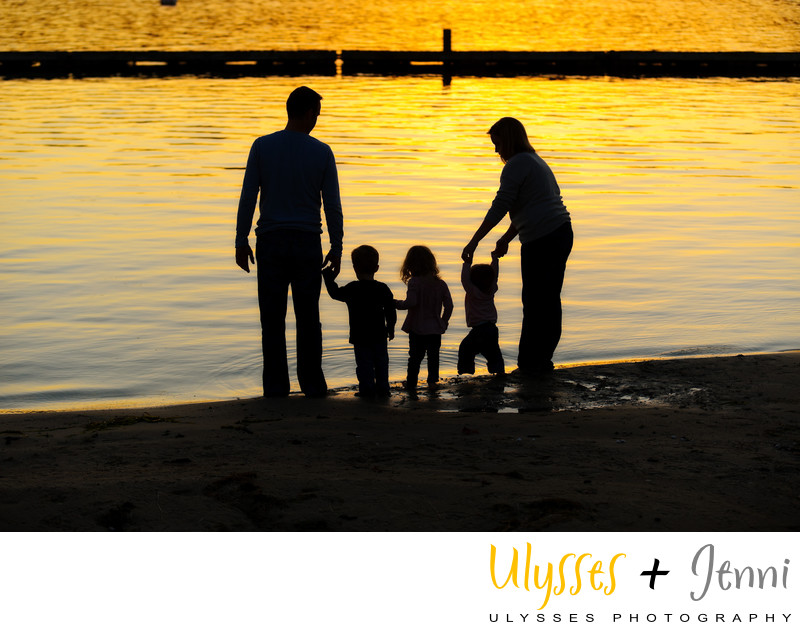 Waterfront Sunset Family Portrait Children