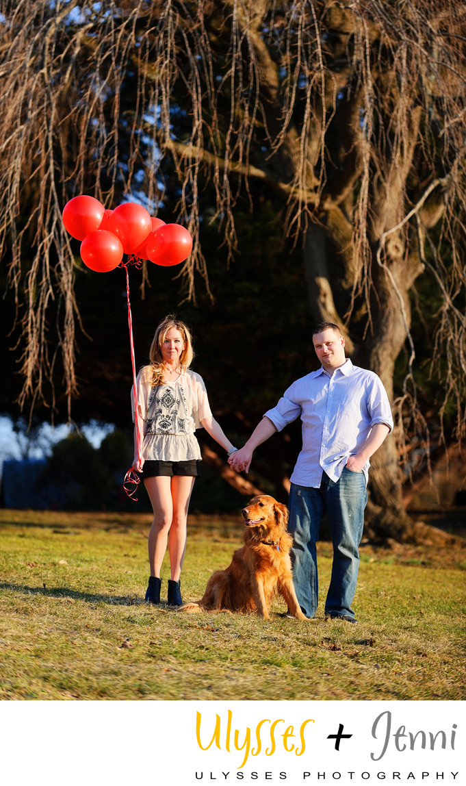 Portrait with Golden Retriever and Balloons