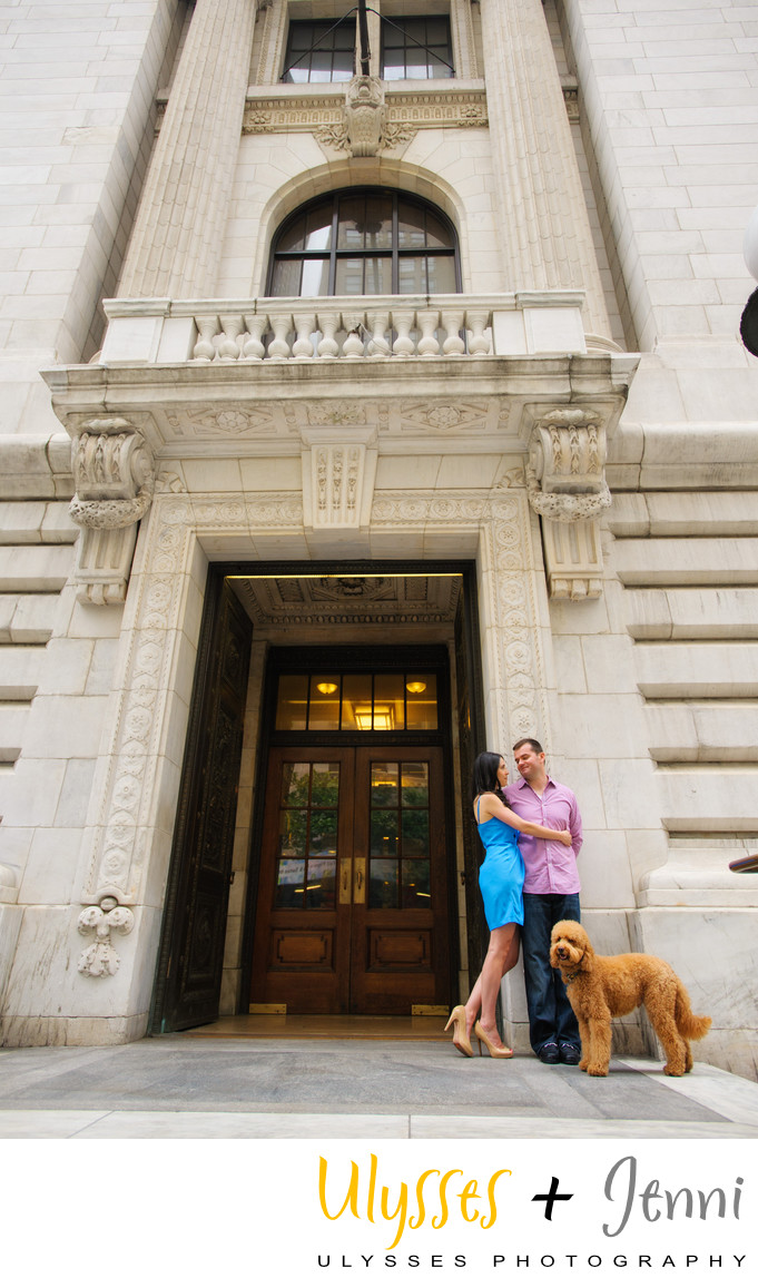 Manhattan Couple with Labradoodle