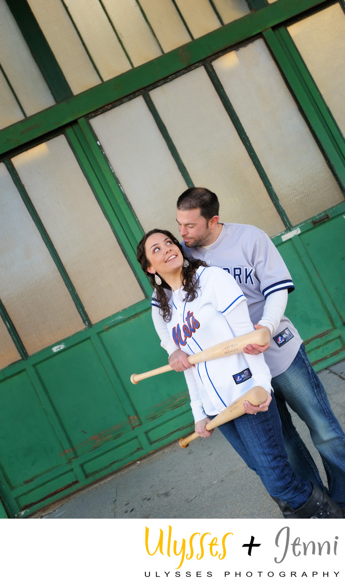 Engagement Photo Baseball Fans