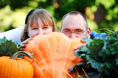 Autumn Anniversary Portrait With Pumpkin