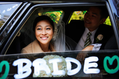 Decorated Wedding Getaway Car