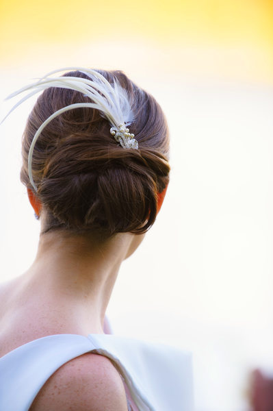 Classic Wedding Updo and Feather Comb