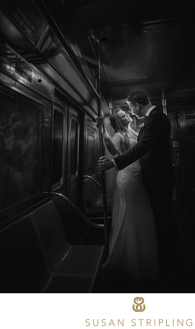 NYC Subway Train Wedding Photo