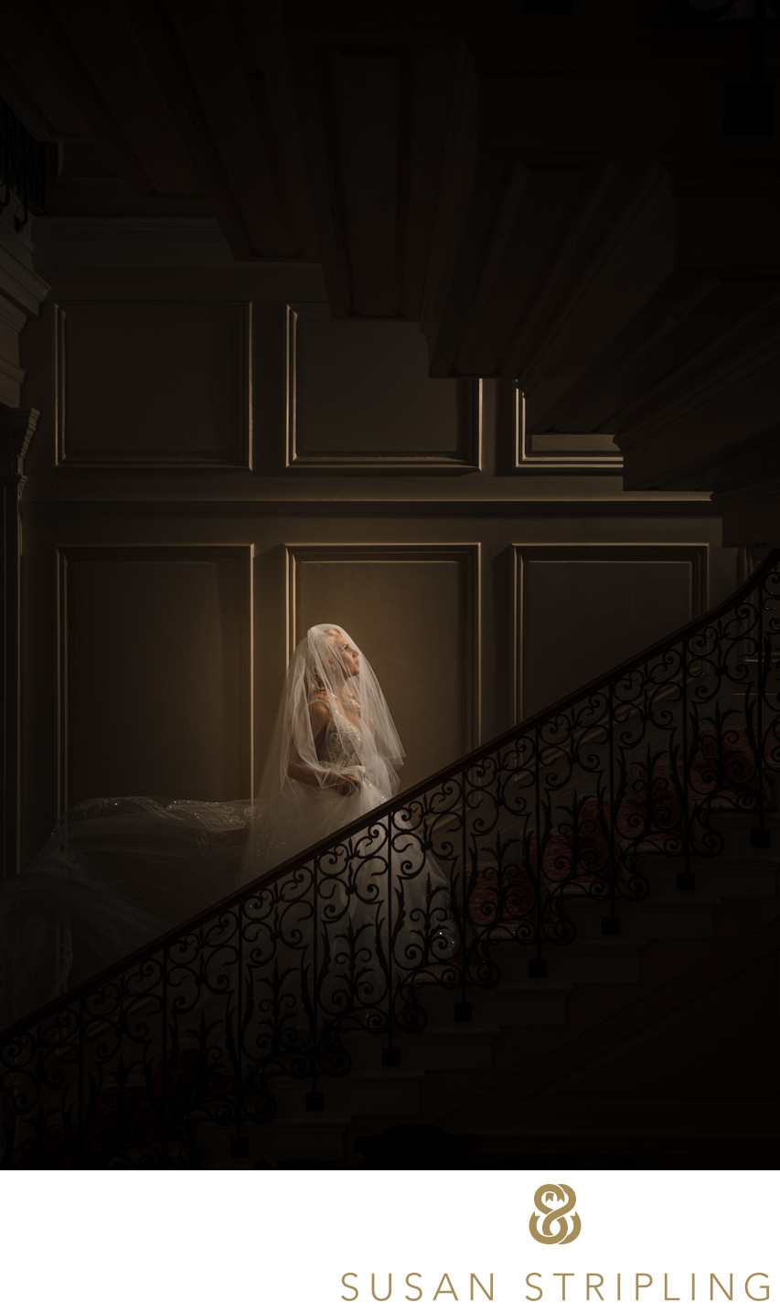 Mansion at Glen Gove Grand Staircase Wedding Photo