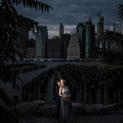 NYC Nighttime Engagement Photos