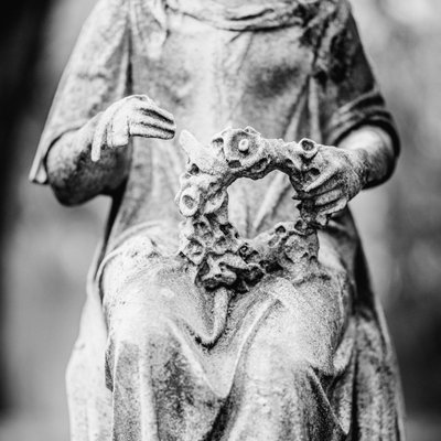 Green-Wood Cemetery Brooklyn Statue With Wreath