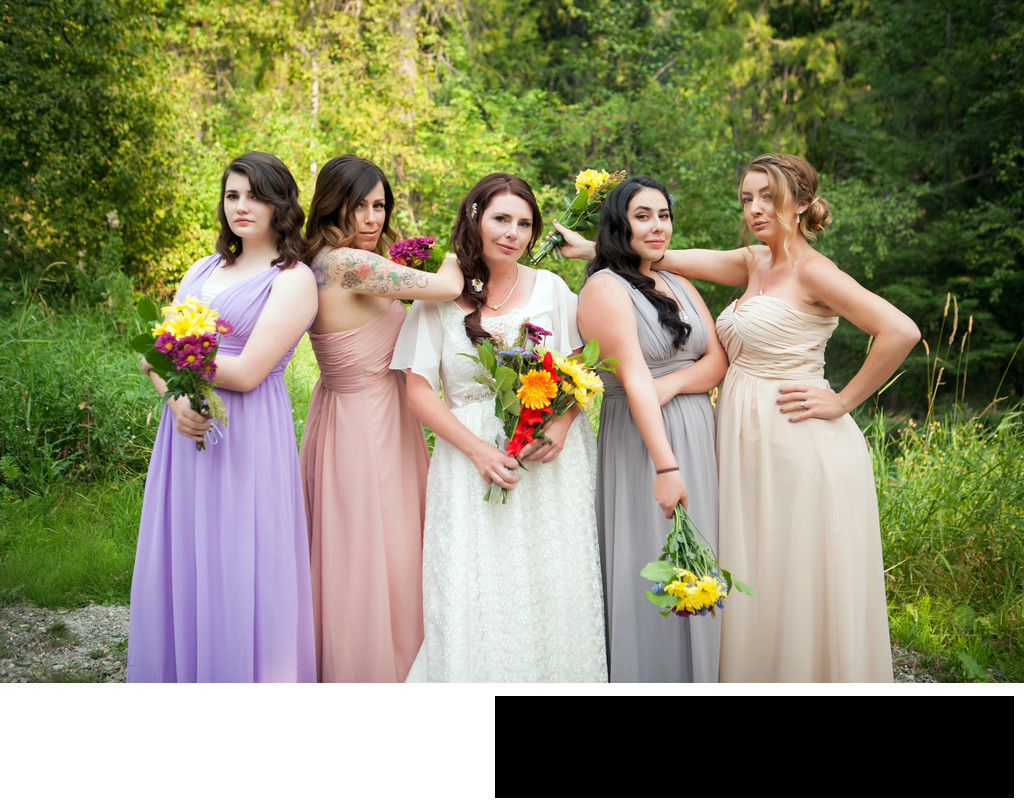 playful-sassy-bride-and-bridesmaids-forest
