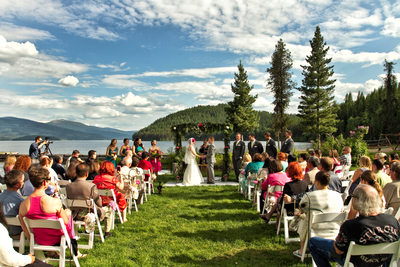 Ceremony photo at the beautiful Elkins Resort located in Priest Lake.