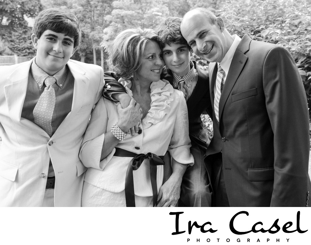 Black and White Bar Mitzvah Family Portrait