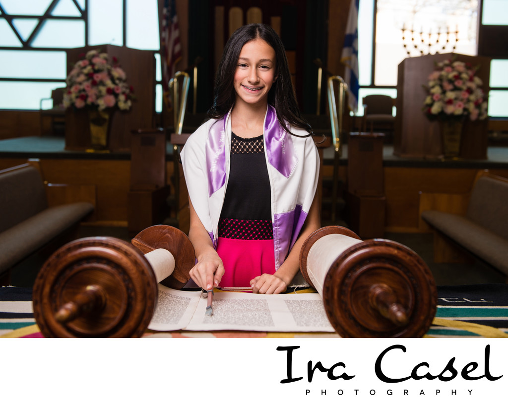 Short Hills Bat Mitzvah Portraits at CBI Millburn