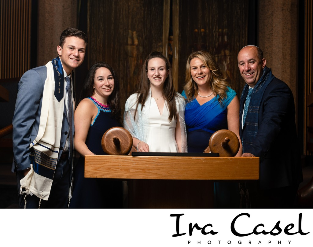 Bat Mitzvah Portrait - Family at Temple