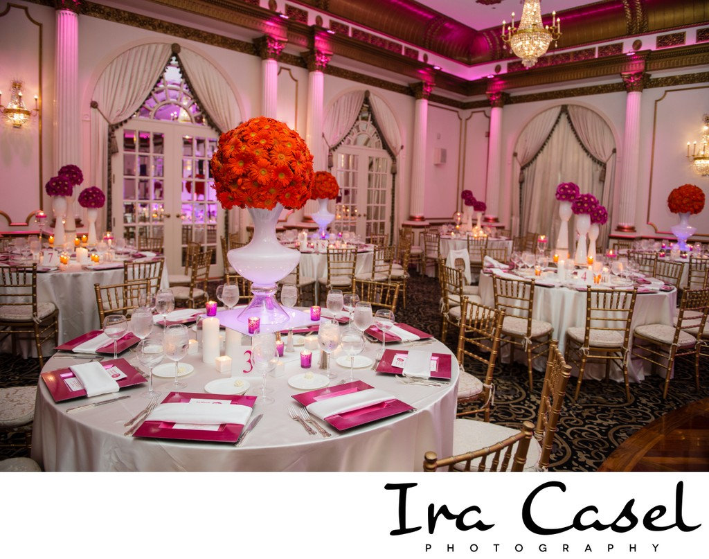 Crystal Plaza Bat Mitzvah Pink and Orange