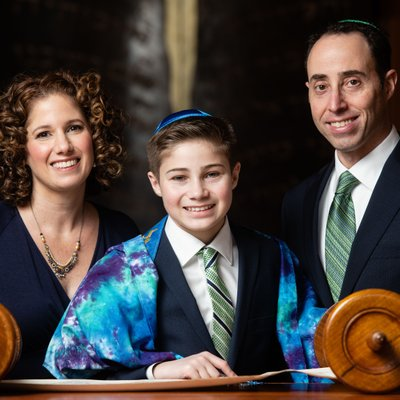 Parents and Bar Mitzvah Boy at the Torah