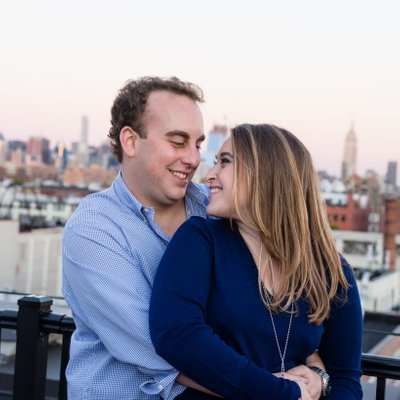 Hoboken Engagement Session Rooftop Sunset