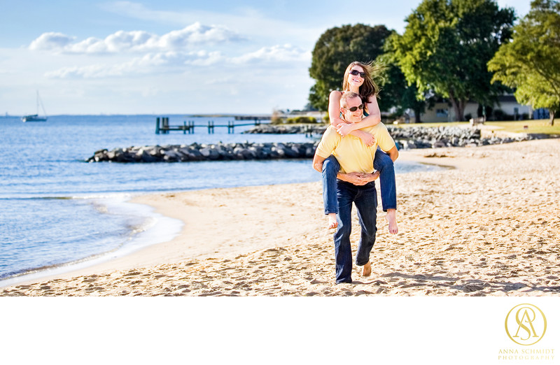 Annapolis Beach Engagement Photos
