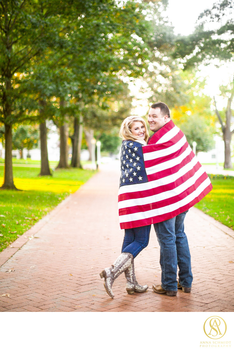 Engagement Photos American Flag