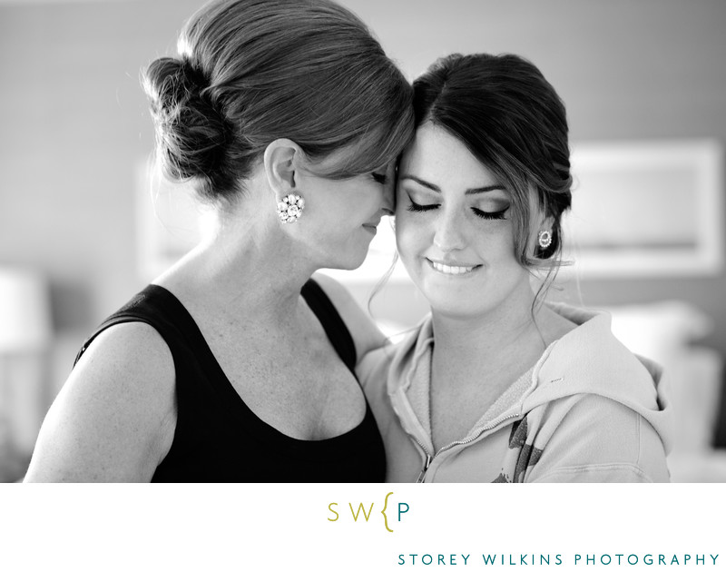 Beautiful Mother Daughter Wedding Moment Getting Ready