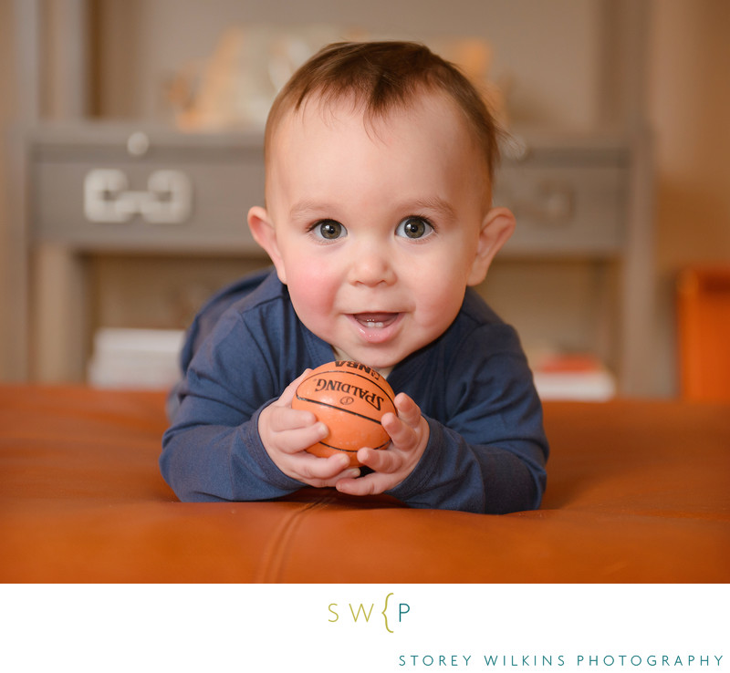Storey Wilkins Photography Baby and Basketball