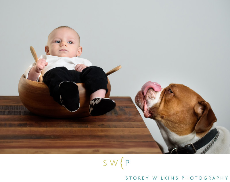 Storey Wilkins Photography Baby Portrait Fun with Dog