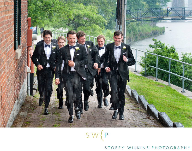 Groomsmen Barely Escape the Rain Port Hope