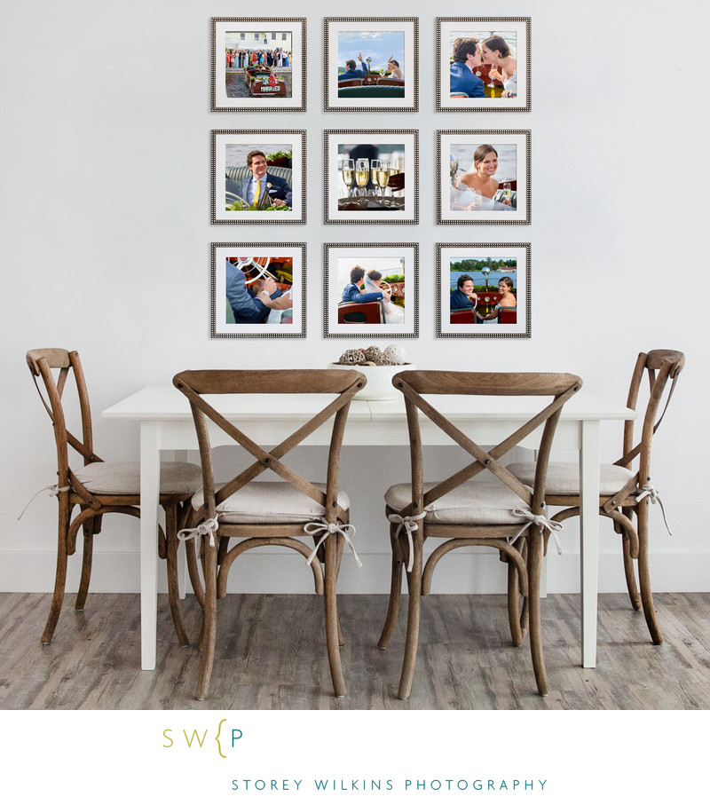 Nine Framed Wedding Photographs