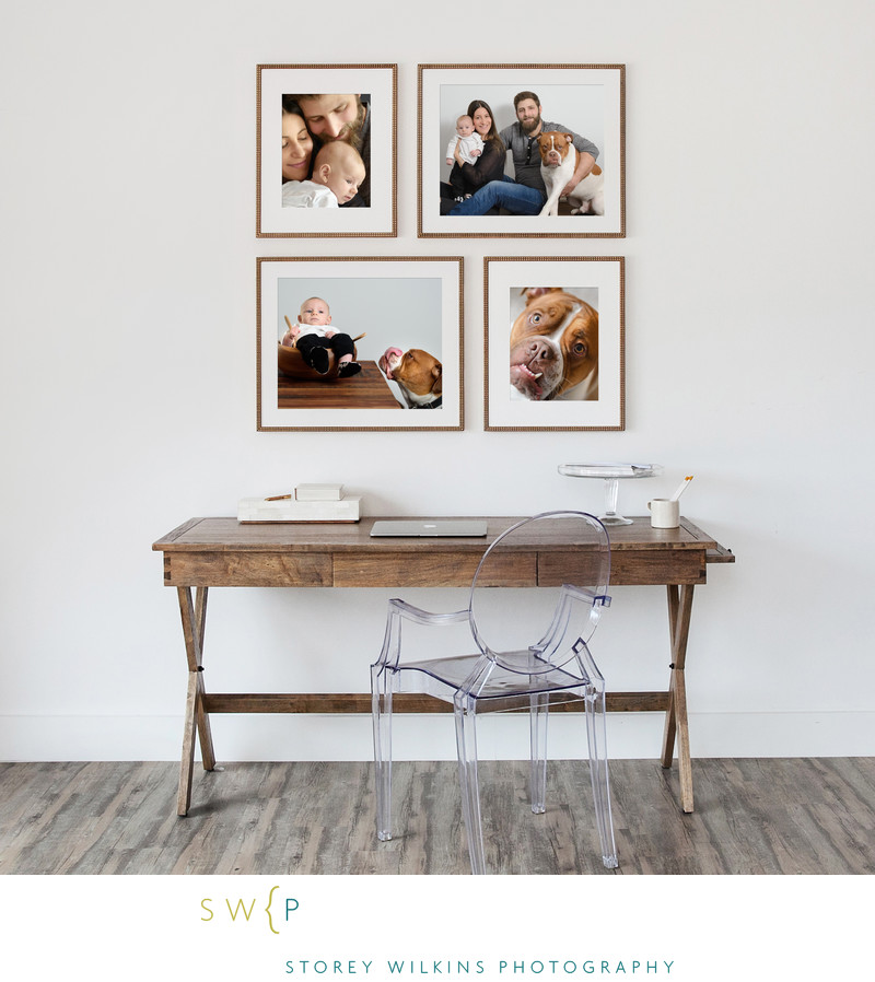 A Lovely Four Frame Photo Arrangement Above a Desk