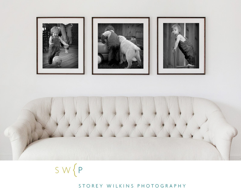 Three Black and White Prints Above Couch Look Classic