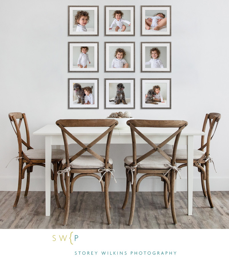 A Nine-Up Fun Photo Display for Kitchen Wall