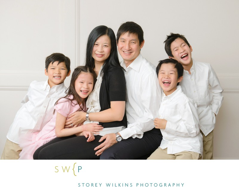 Family Group Photo White Wall