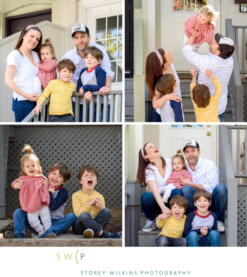 Safe Porch Portraits in Toronto:  Seaton Village Family