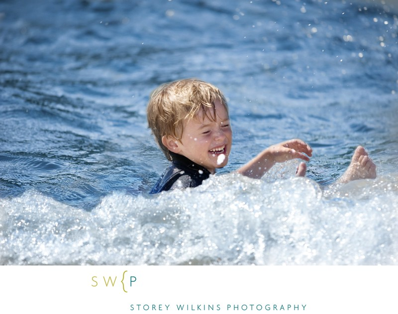 Boy Playing in Lake Huron: Bruce Peninsula Summer Photo