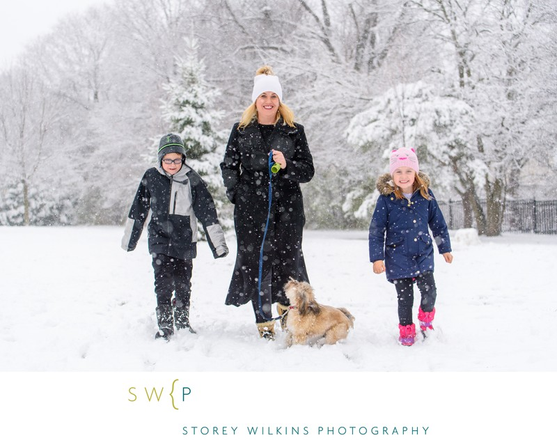 Family Running in the Snow