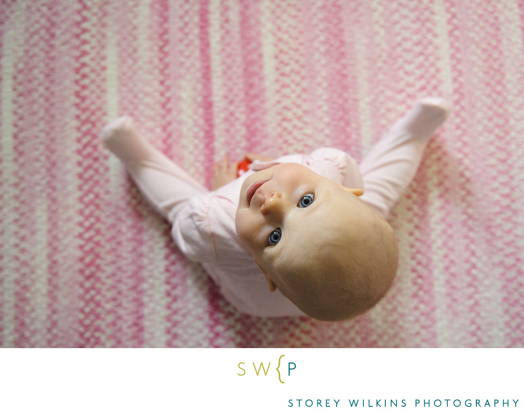 High Angle View of Cute Baby During Portrait Session