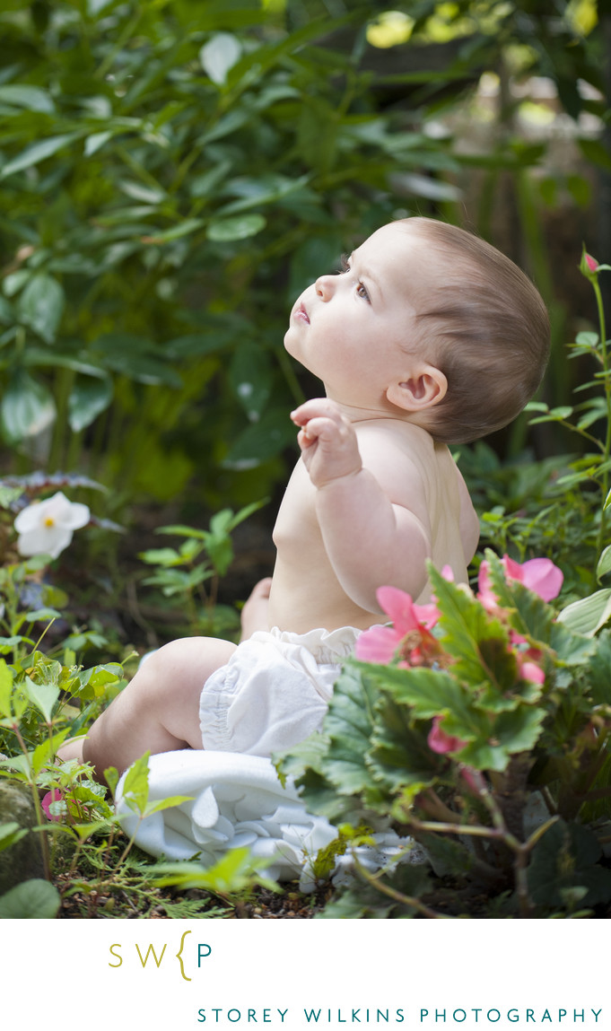Classic Baby Portrait in the Back Yard Garden