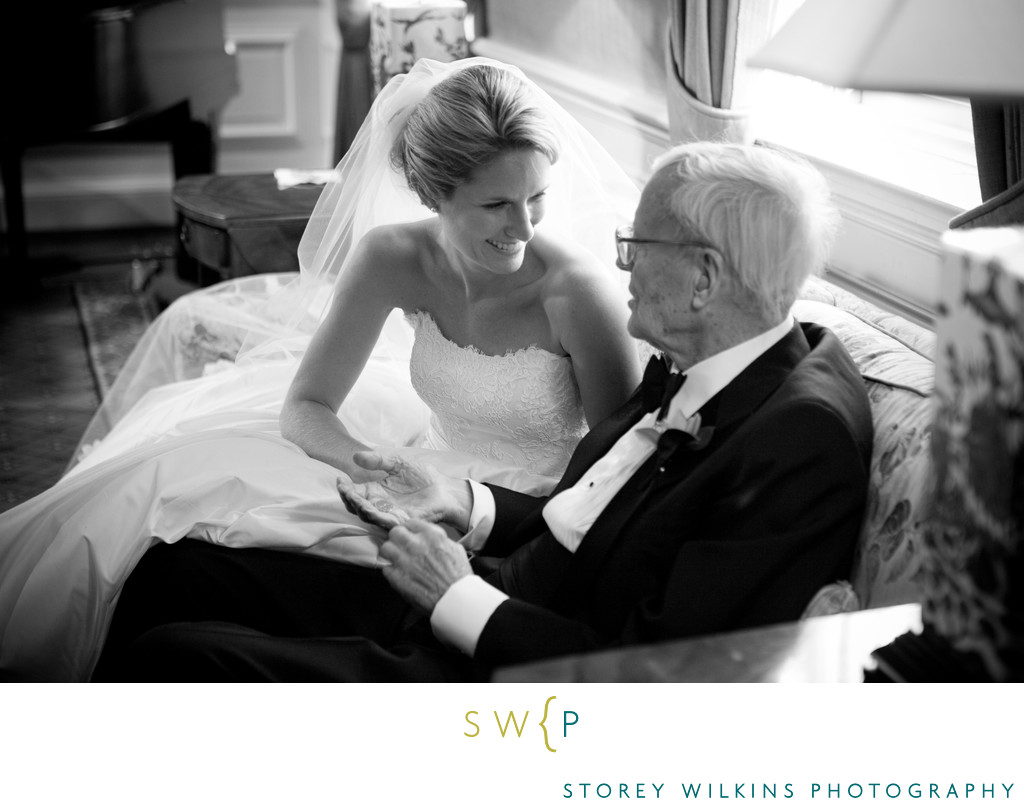 Rosedale Golf Club Moment with Bride and Grandfather