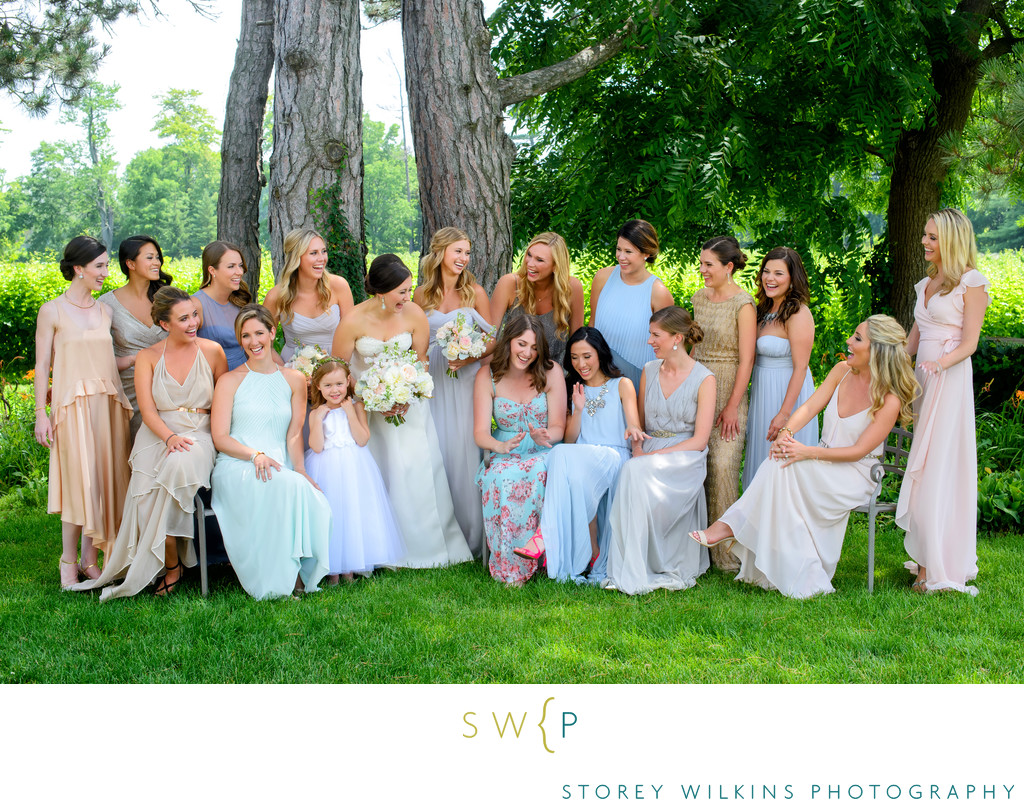 Niagara Wedding Bridesmaids Group Portrait at Riverbend