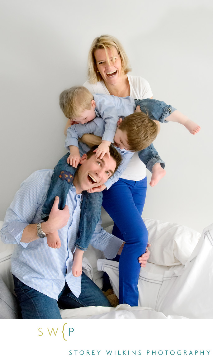 Fun Family Photo Shoot in Toronto:  Pile up on the Bed