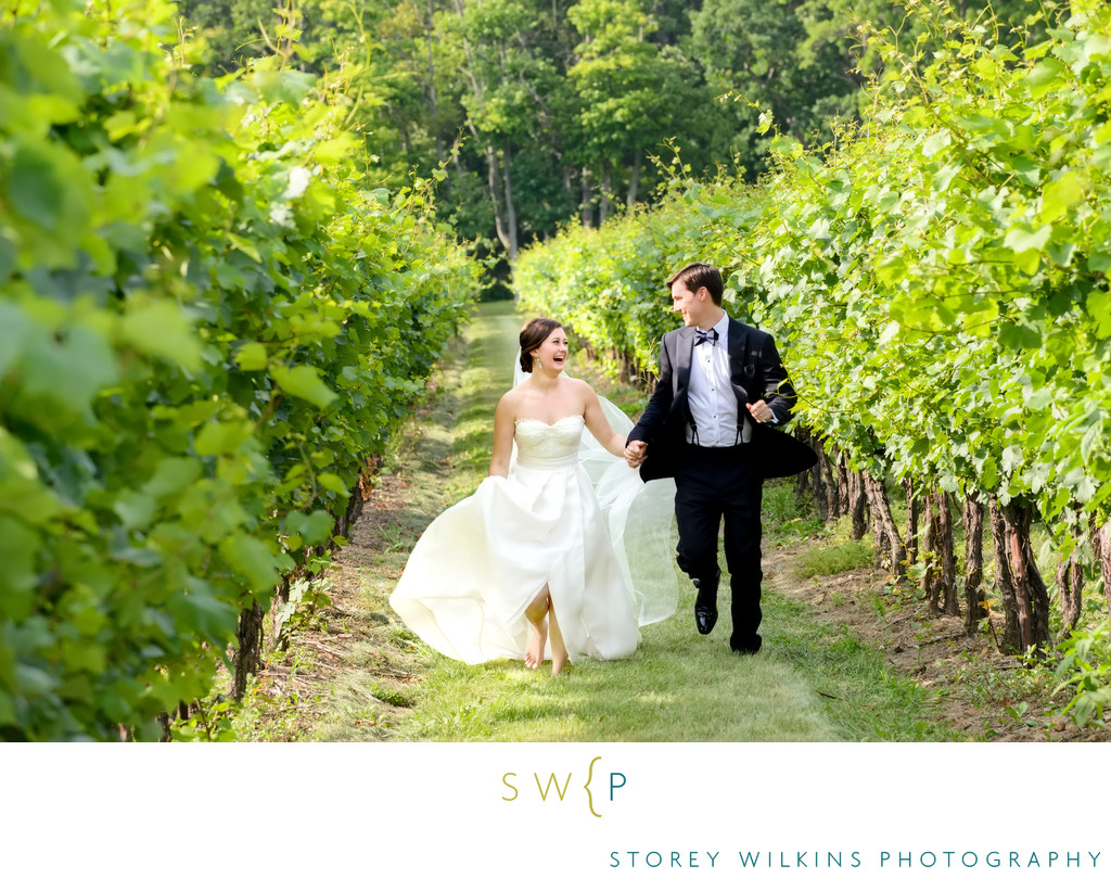 Bride and Groom Photgraphy at Romantic Vineyard Wedding