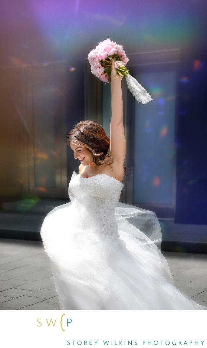 Bride outside Four Seasons Hotel