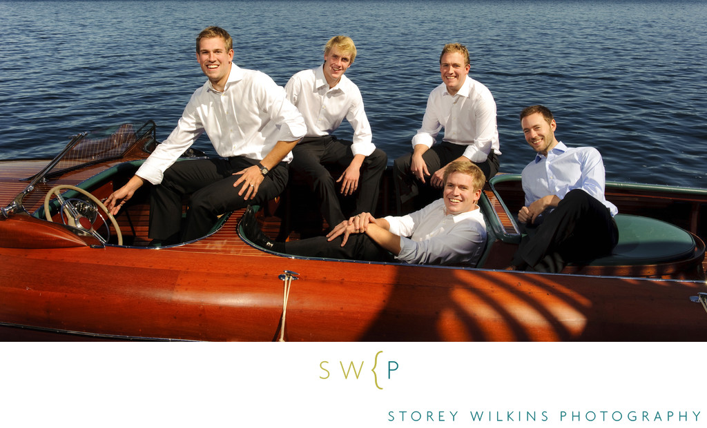 Muskoka Lakes Wedding: Classic Wooden Boat & Groomsmen