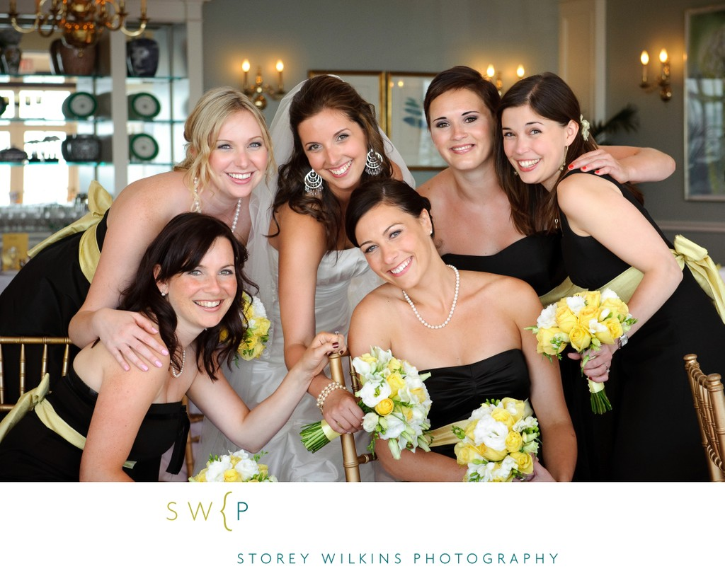 Bridesmaids & Bride at Boulevard Club in Natural Light