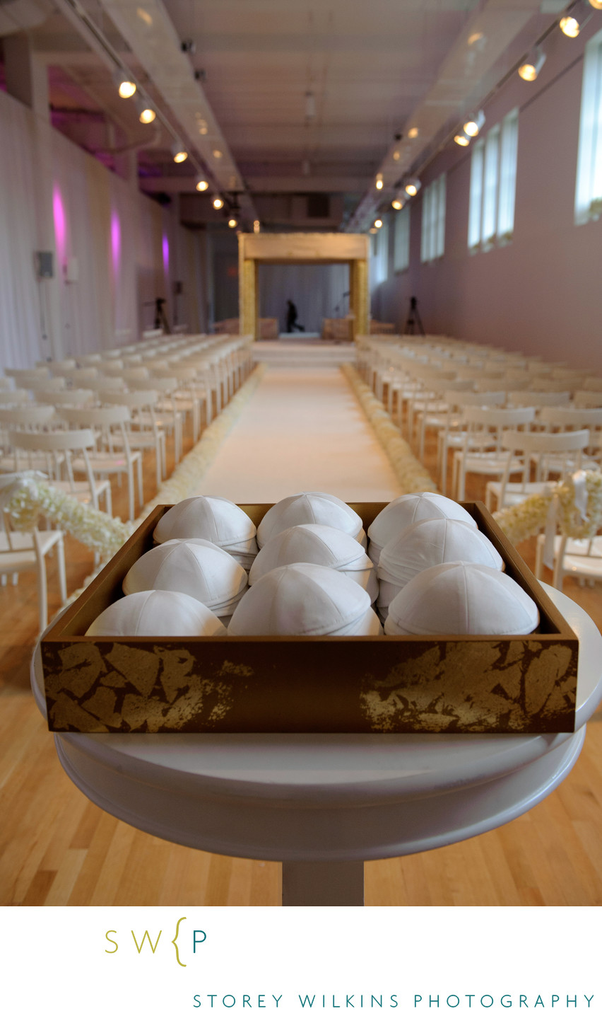 Photo of White Kippahs at Royal Ontario Museum Wedding