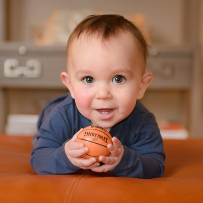 Baby with his Baby-Sized Basketball