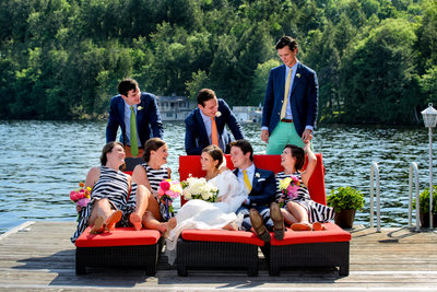 On the Dock with the Bridal Party Muskoka Wedding